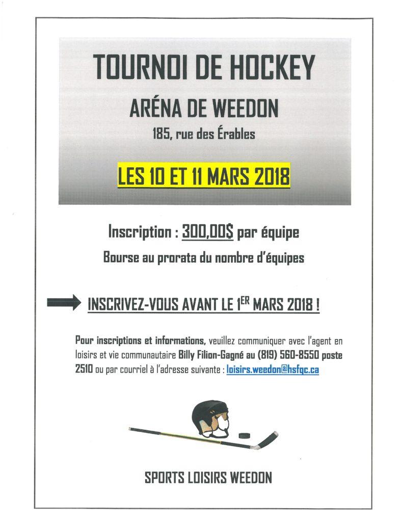 Tournoi de hockey – 10 et 11 mars 2018