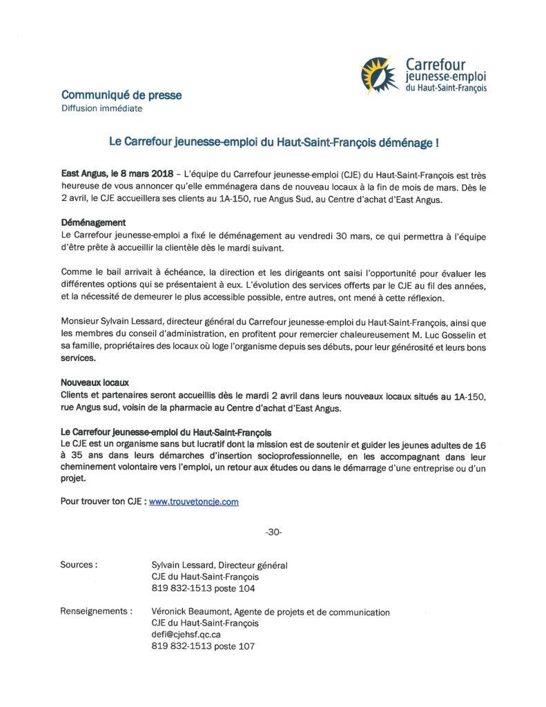 Communiqué – Carrefour jeunesse-emploi du Haut-Saint-François