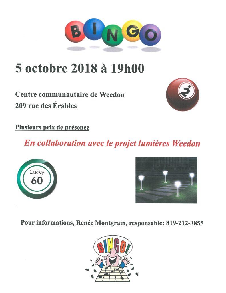 PROCHAIN BINGO – 5 OCTOBRE 2018