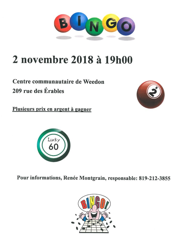 PROCHAIN BINGO : LE VENDREDI, 2 NOVEMBRE 2018