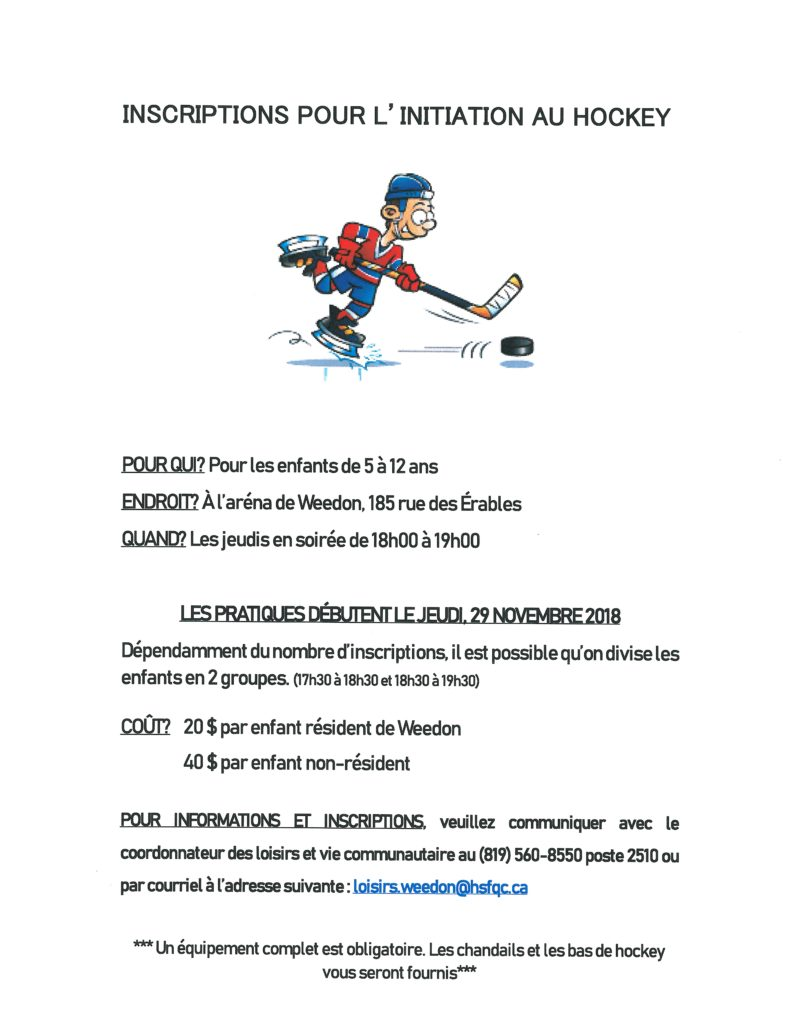 Horaire aréna de Weedon 2018-2019 / Inscription hockey