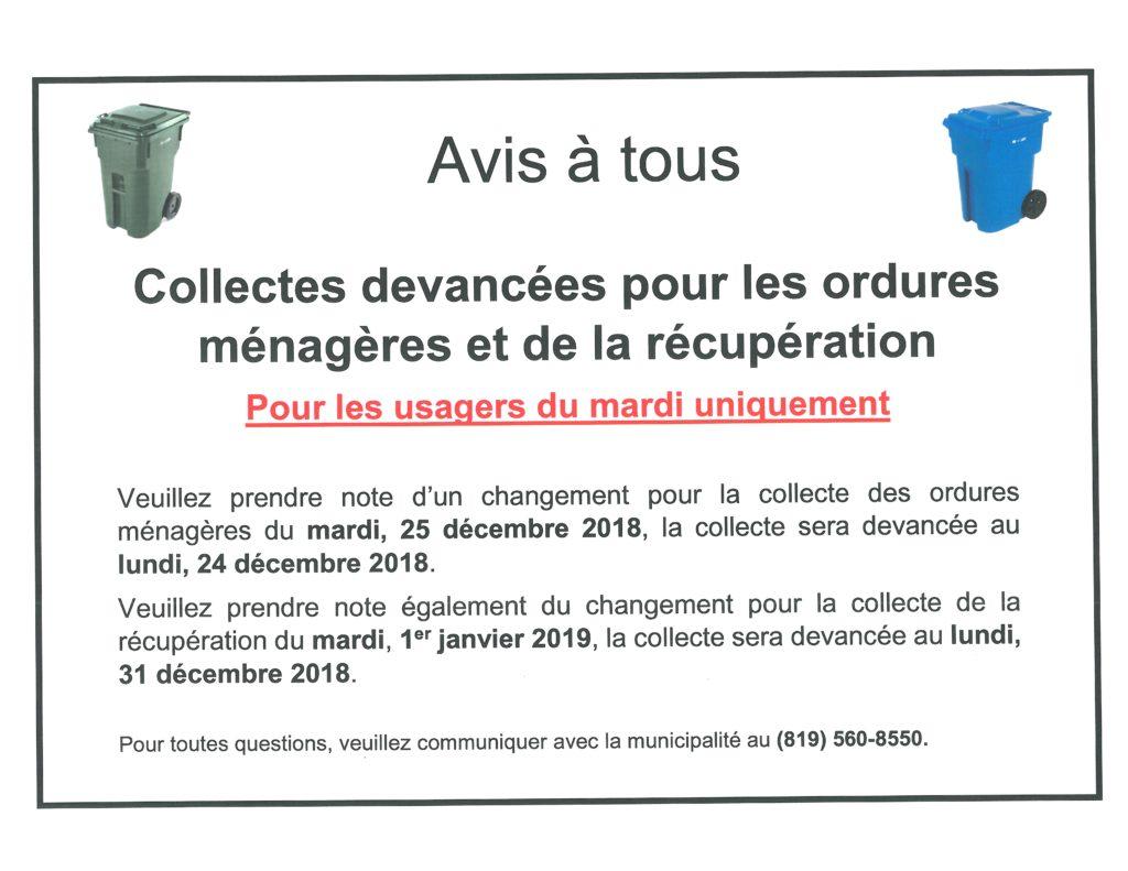 Avis à tous – Collectes devancées