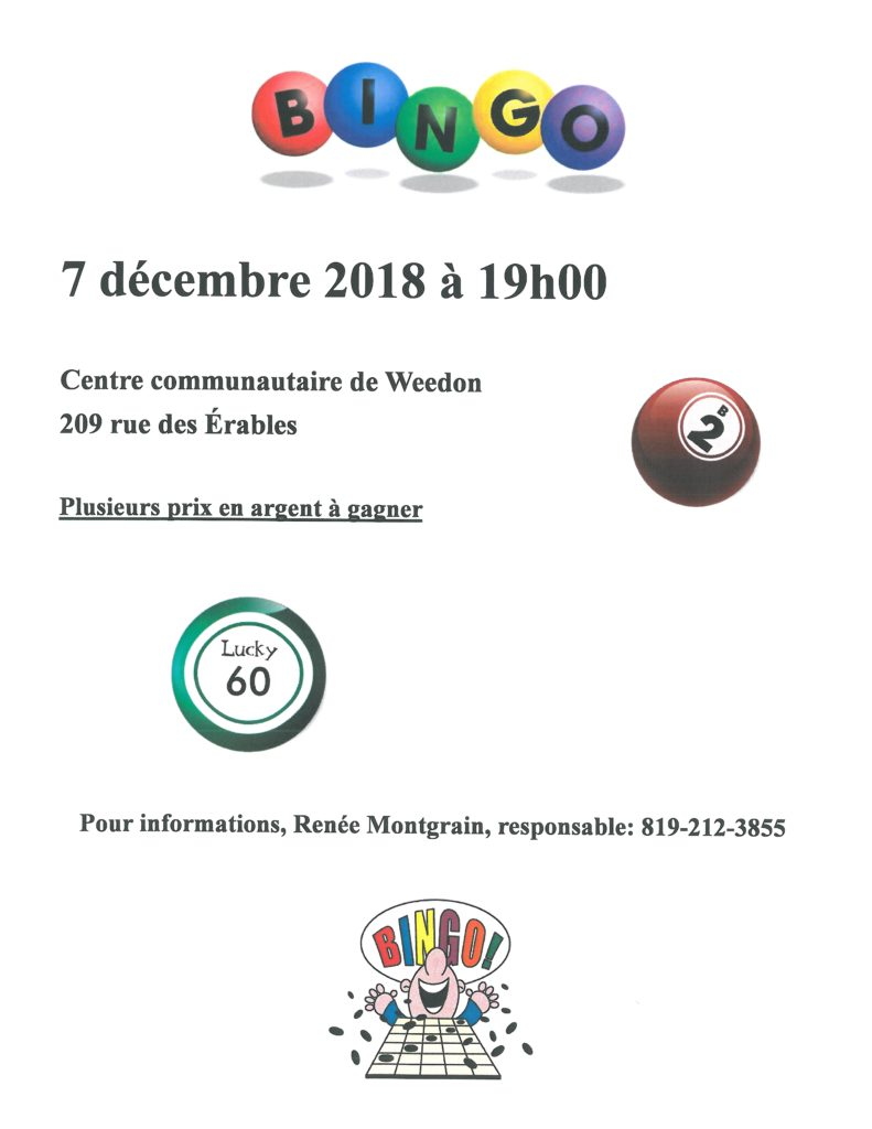 PROCHAIN BINGO 7 DÉCEMBRE 2018