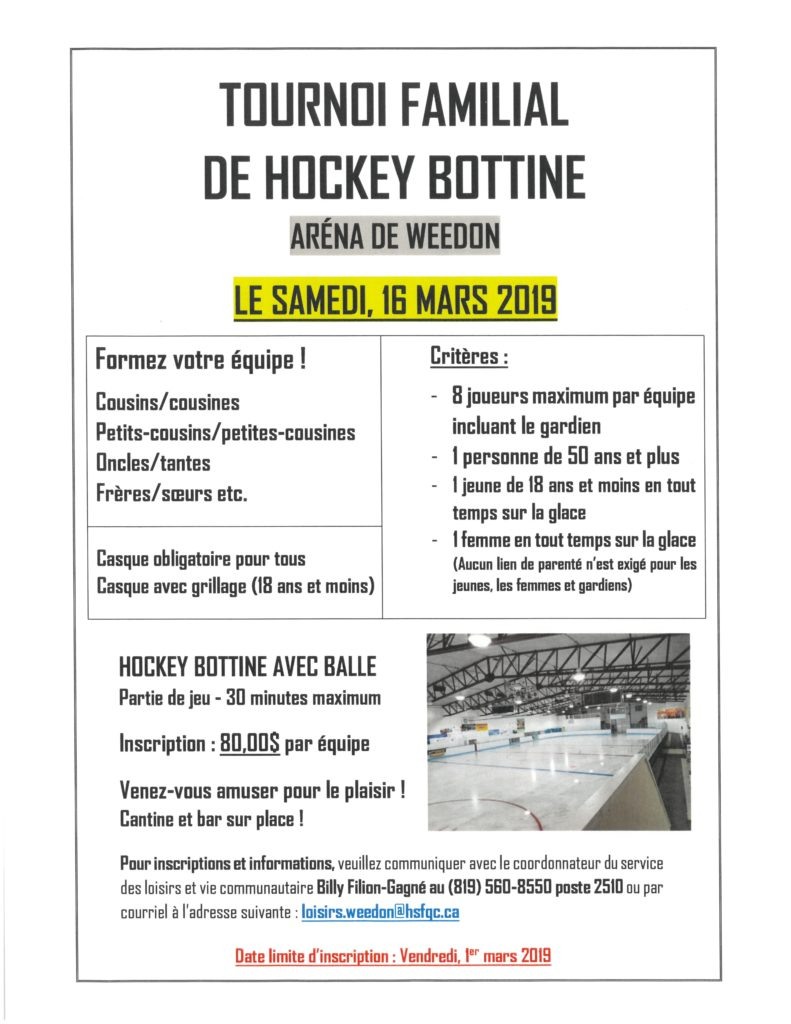 Tournoi familial de hockey bottine – 16 mars 2019