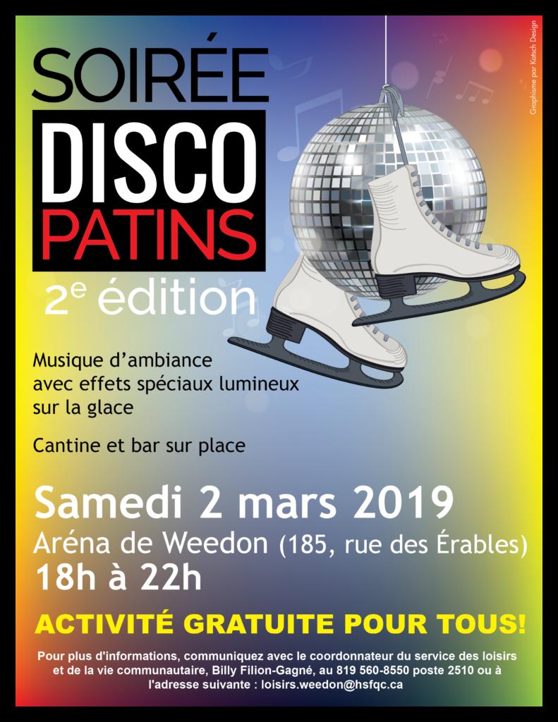 Soirée disco patins – Aréna de Weedon – 2 mars 2019