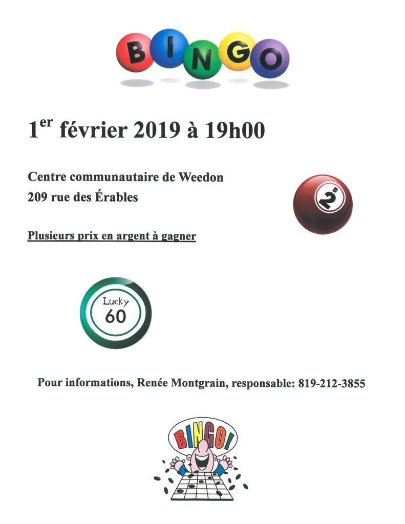 Prochain bingo – 1er février 2019