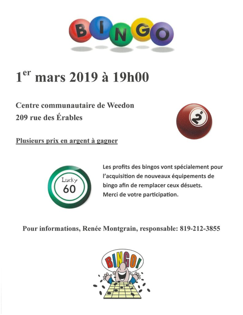PROCHAIN BINGO – 1er MARS 2019