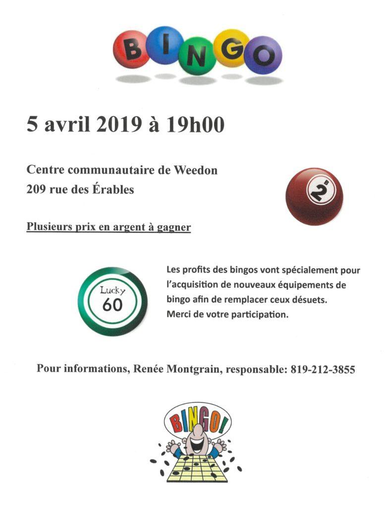 PROCHAIN BINGO – VENDREDI 5 AVRIL 2019