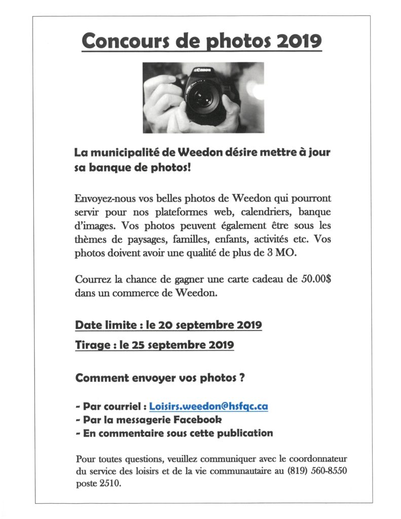 CONCOURS DE PHOTOS 2019