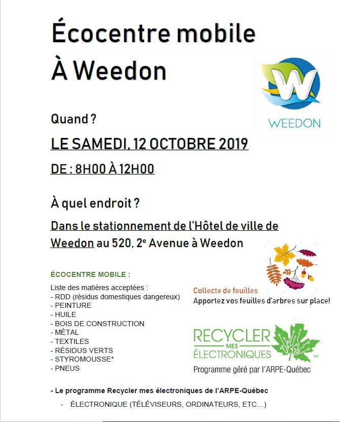Écocentre mobile à Weedon – 12 octobre 2019