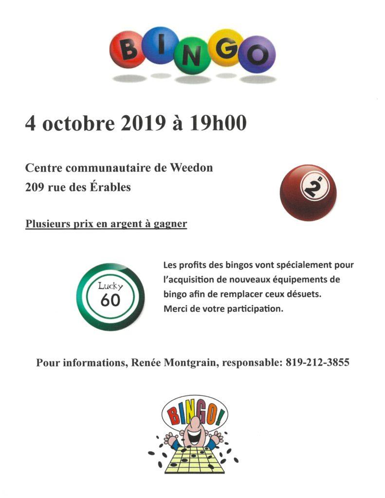 PROCHAIN BINGO – VENDREDI 4 OCTOBRE 2019