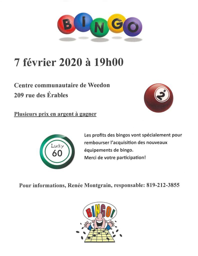 PROCHAIN BINGO : VENDREDI 7 FÉVRIER 2020
