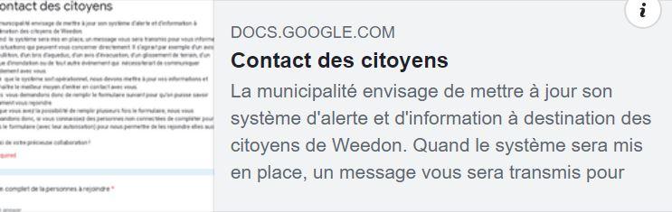 Système d'alerte à l'intention des citoyens de Weedon