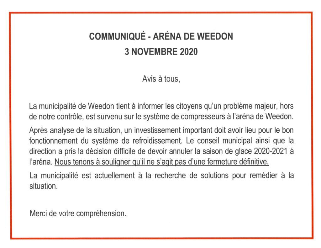 COMMUNIQUÉ – ARÉNA DE WEEDON – 3 NOVEMBRE 2020