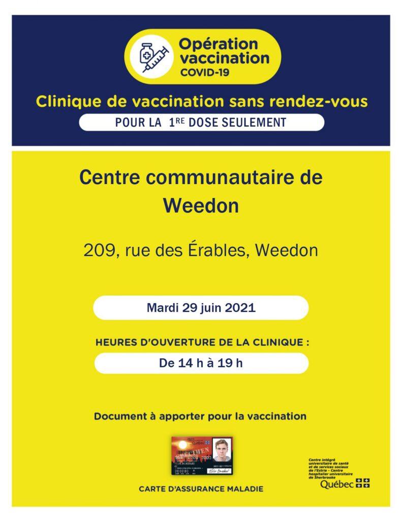 Clinique de vaccination sans rendez-vous à Weedon